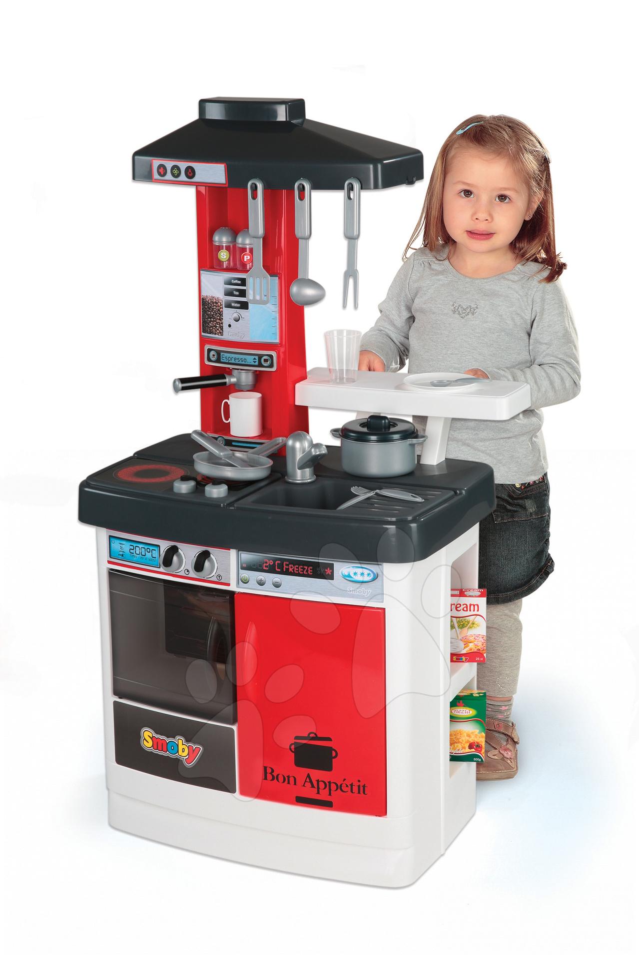 Elektronická kuchyňka Cherry Smoby se zvuky, barovým pultem a 18 doplňků