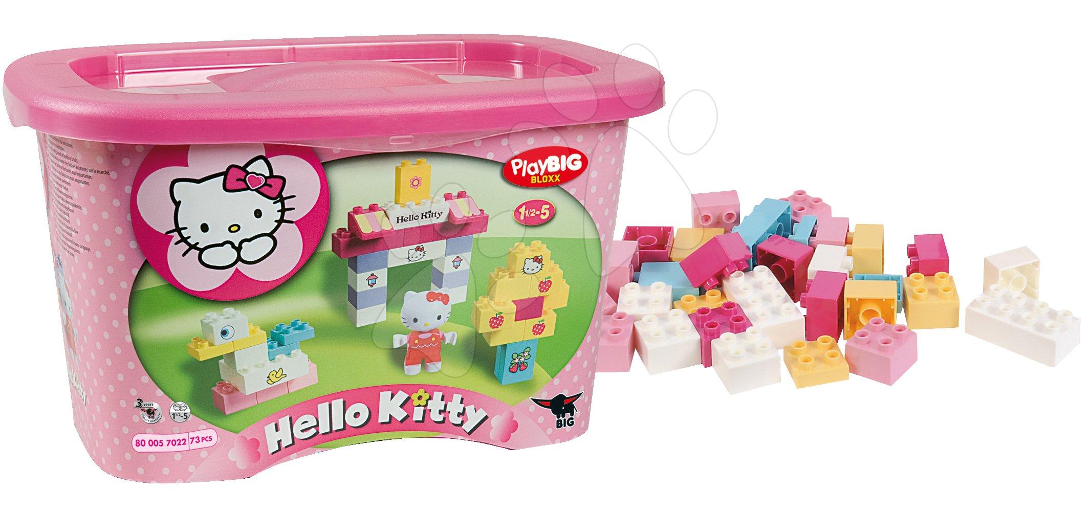 Stavebnice BIG-Bloxx ako lego - Stavebnica v dóze PlayBIG BIG Hello Kitty 73 kusov od 18 mes