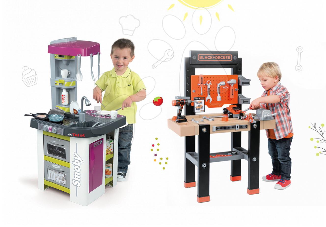 Set kuchyňka pro děti Tefal Studio BBQ Bublinky Smoby s magickým bubláním a pracovní dílna s vrtačkou Black+Decker