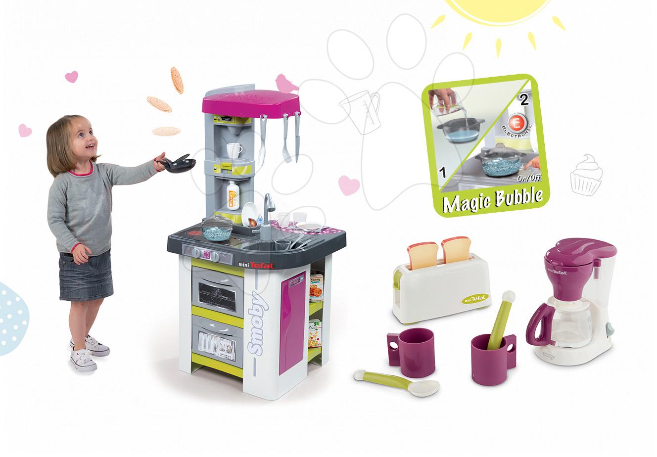 Set dětská kuchyňka Tefal Studio BBQ Bublinky Smoby s magickým bubláním a sada kávovaru a topinkovače