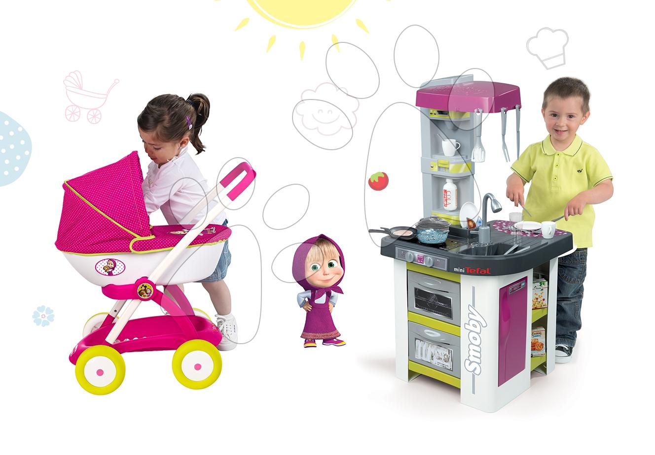 Set kuchynka Tefal Studio BBQ Bublinky Smoby s magickým bublaním a hlboký kočík pre bábiku Máša a medveď (58 cm rúčka)