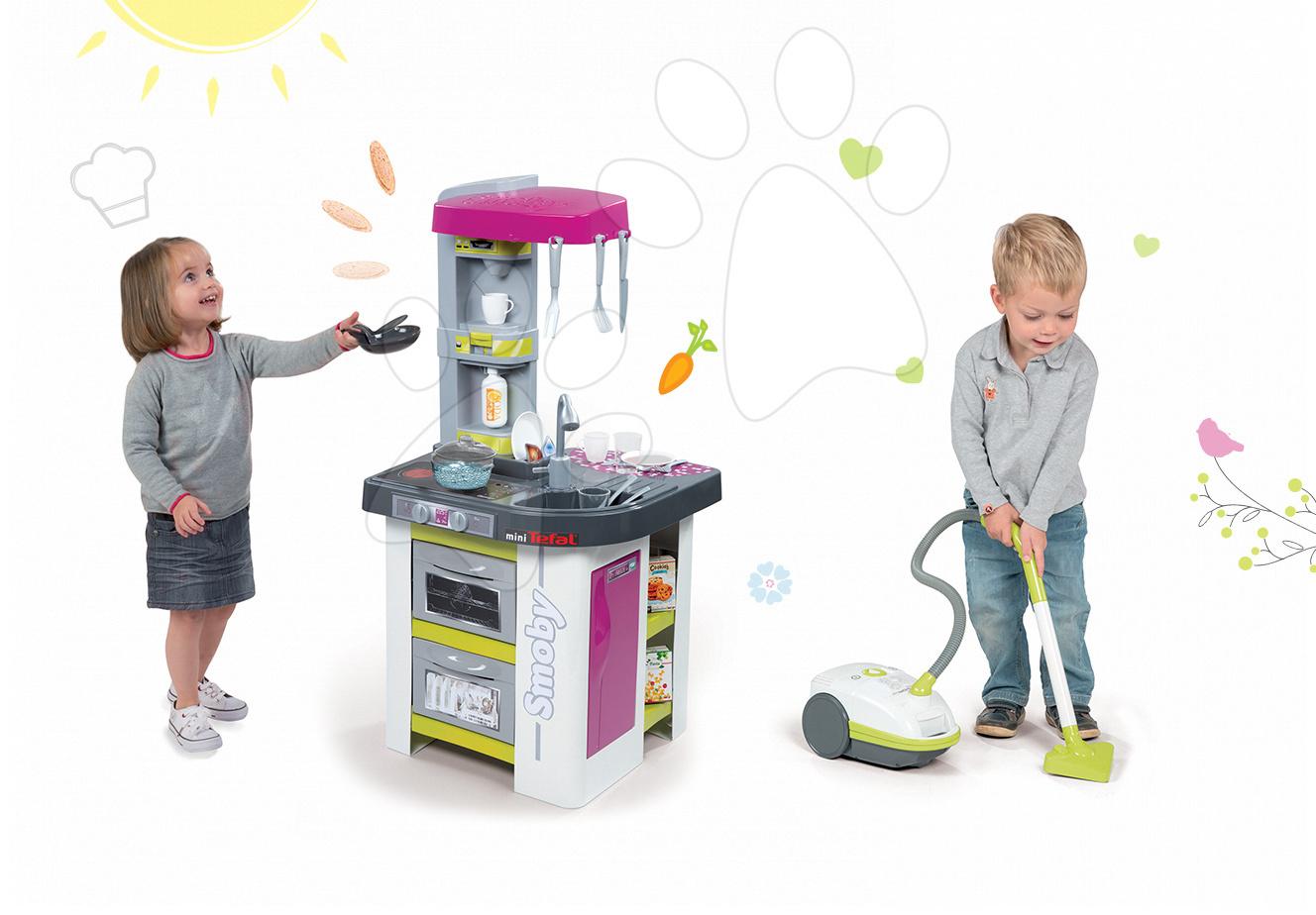 Kuchynky pre deti sety - Set kuchynka Tefal Studio BBQ Bublinky Smoby s magickým bublaním a vysávač Rowenta elektronický