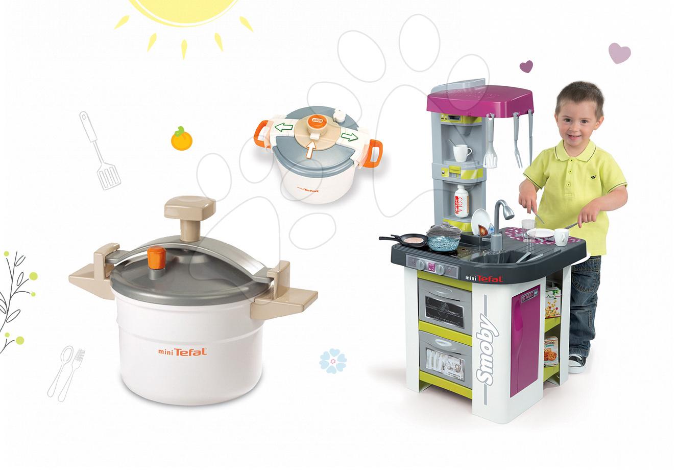 Set kuchyňka pro děti Tefal Studio BBQ Bublinky Smoby s magickým bubláním a tlakový hrnec Tefal