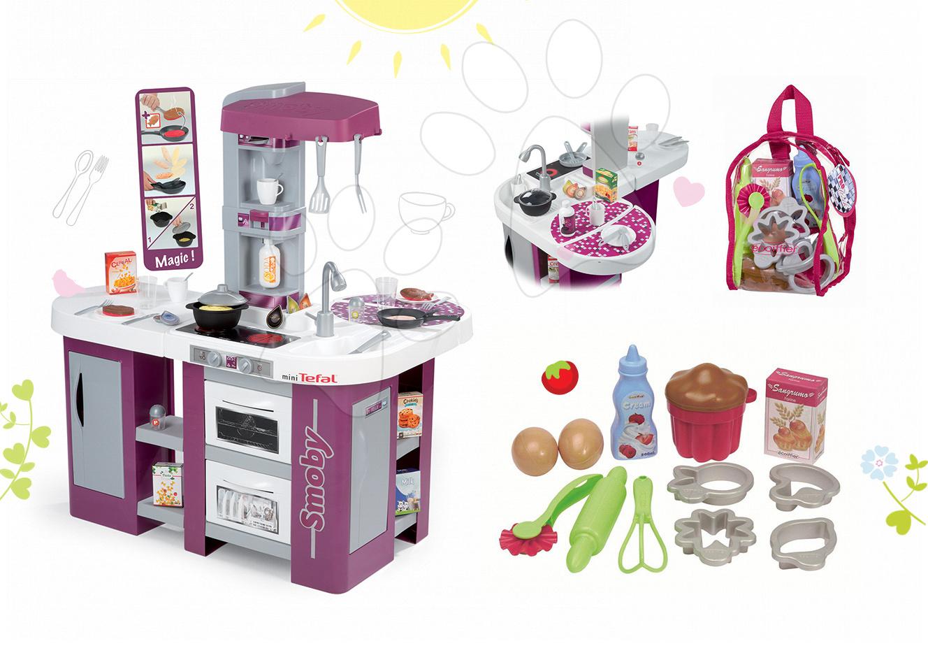Set kuchyňka Tefal Studio XL Smoby s myčkou nádobí a lednicí a doplňky na pečení v batohu