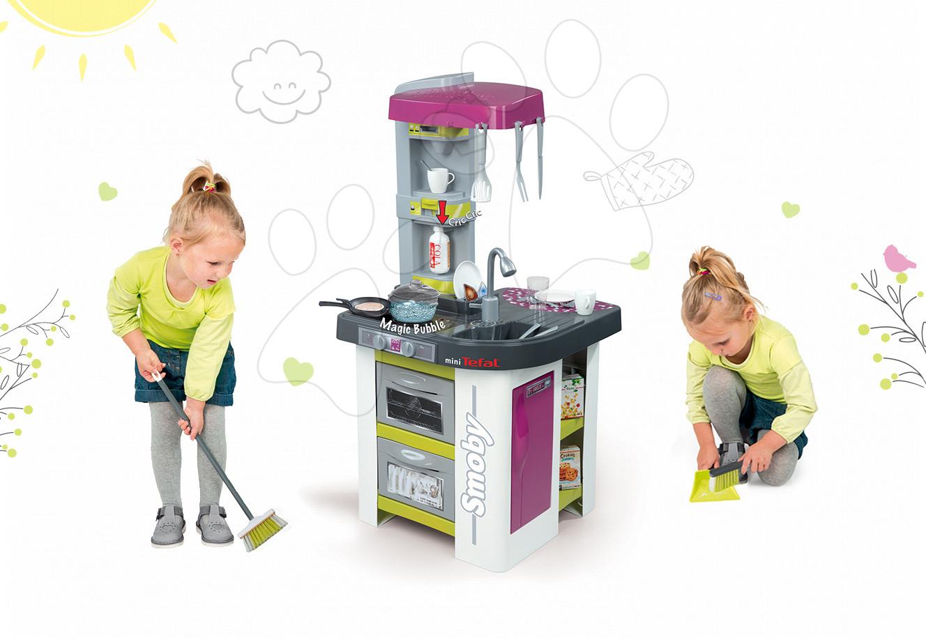 Set kuchyňka pro děti Tefal Studio BBQ Bublinky Smoby s magickým bubláním a úklidové pomůcky 3v1