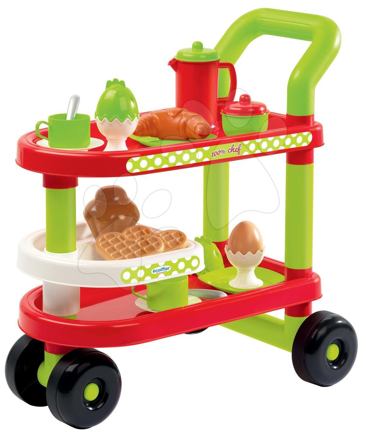 Servírovací vozík s raňajkami 100% Chef Écoiffier s croissantom a vajíčkom s 23 doplnkami