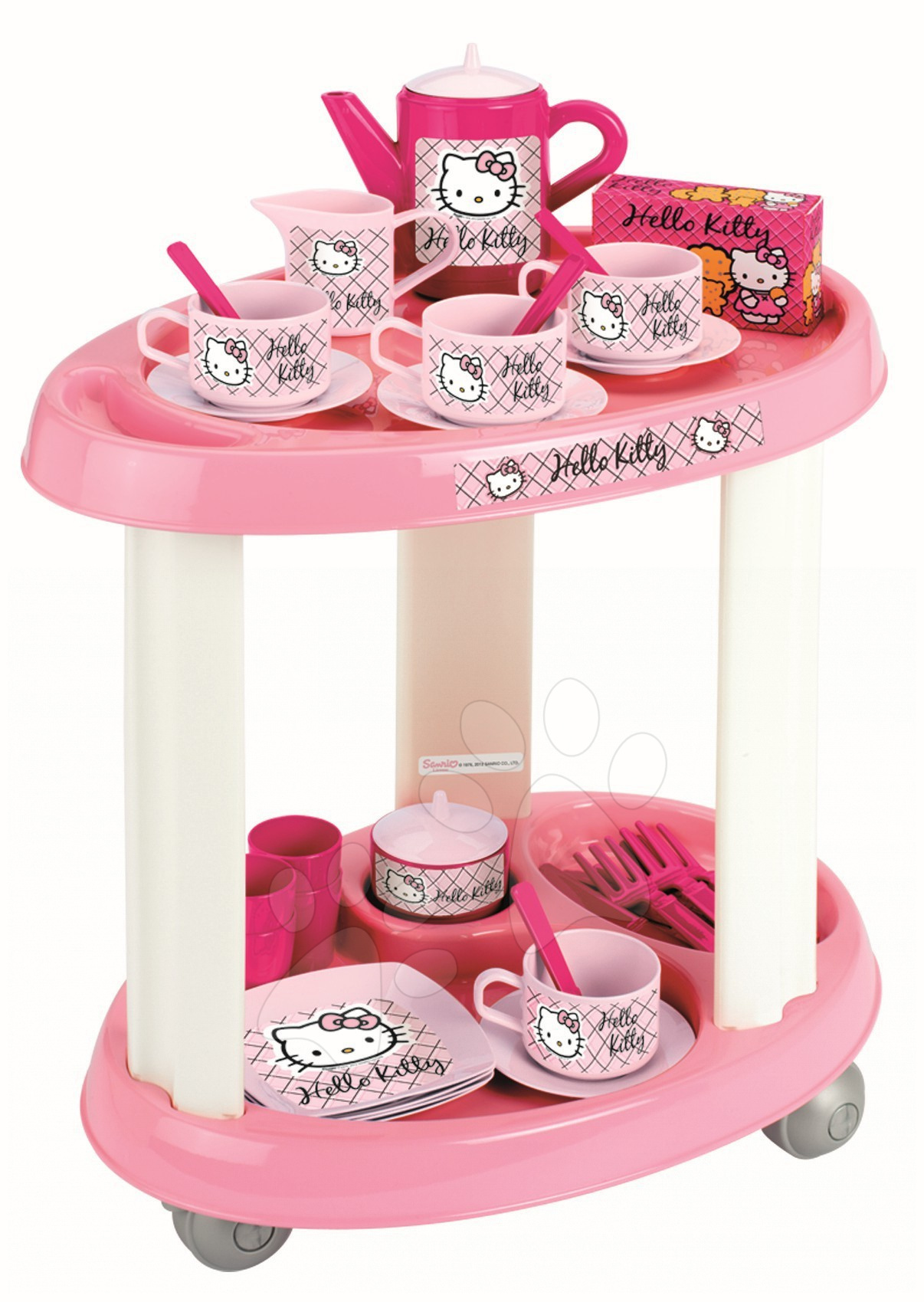 Servírovací stolek Hello Kitty s čajovou soupravou  Écoiffier 35 doplňky od 18 měsíců