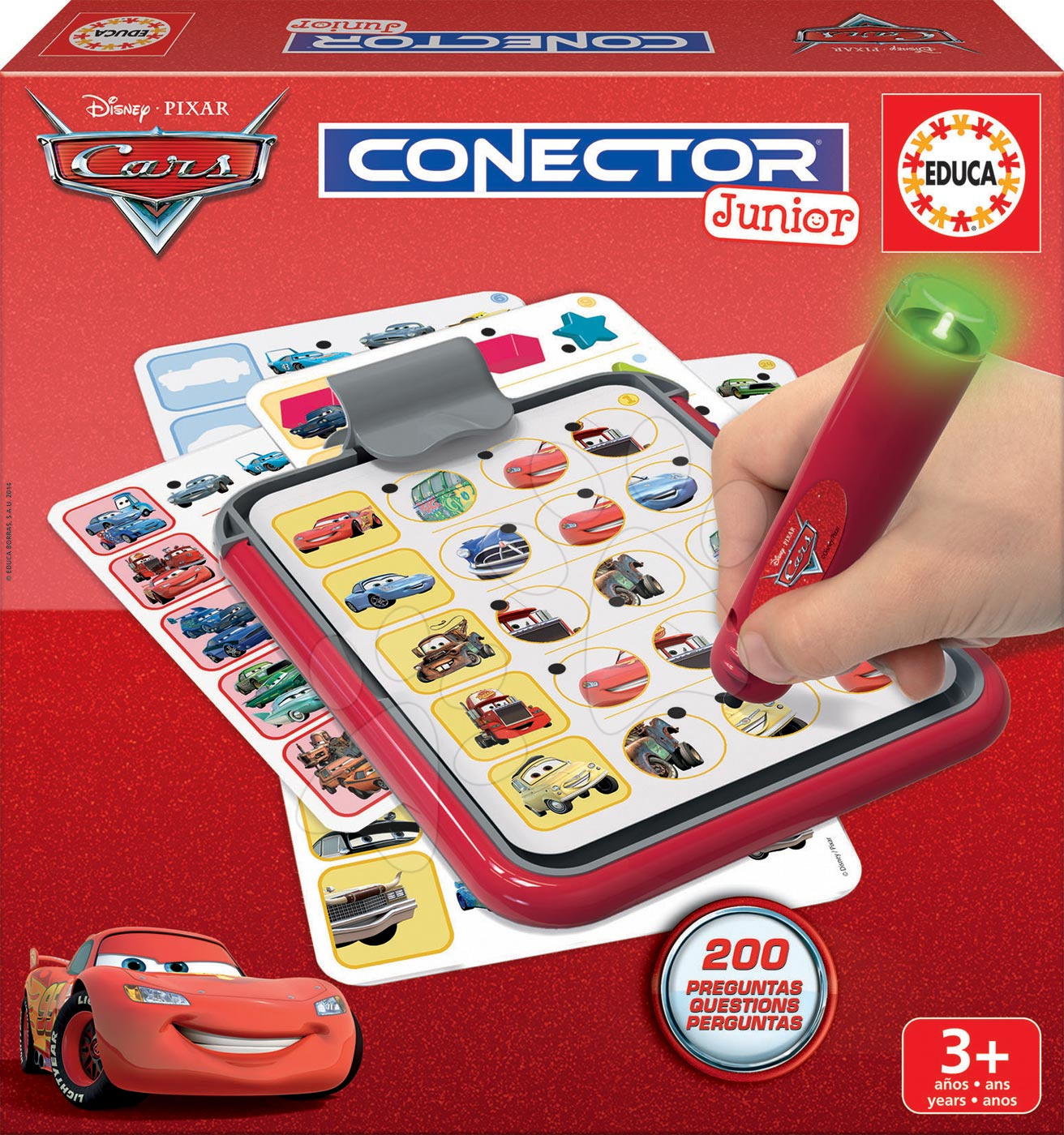 Společenská hra Auta Conector junior Educa 40 karet a 200 dotazů a inteligentní pero