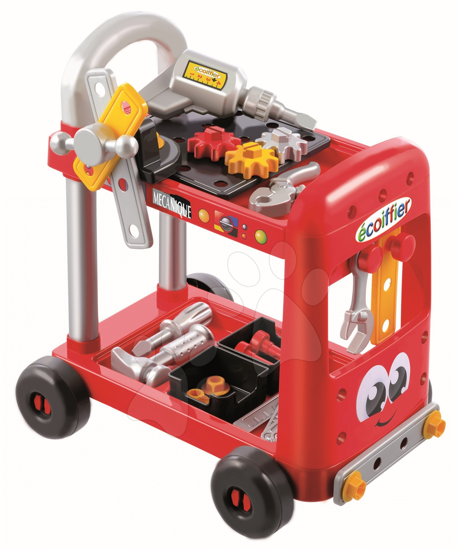 Pracovná dielňa Mecanique Tool Set Trolley Écoiffier na vozíku s 31 doplnkami od 24 mes