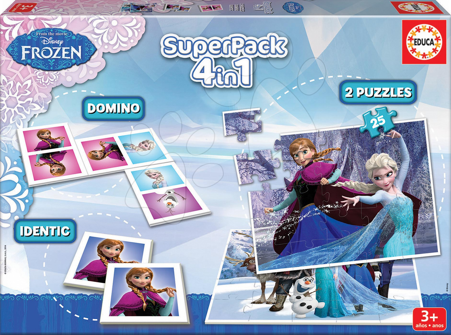 Progresívne detské puzzle - Puzzle SuperPack Frozen 4 v 1 Educa 2x puzzle, domino a pexeso, progresívne