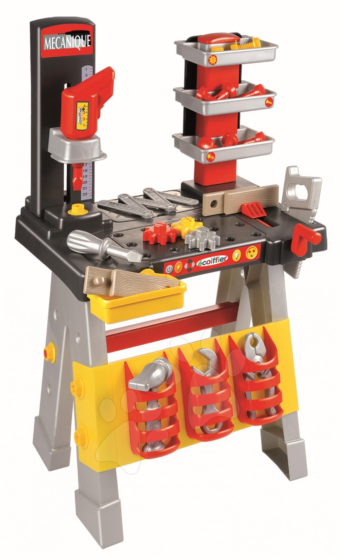 Szerelőasztal Mecanique fúróval és szerszámokkal Écoiffier 40 db kiegészítővel