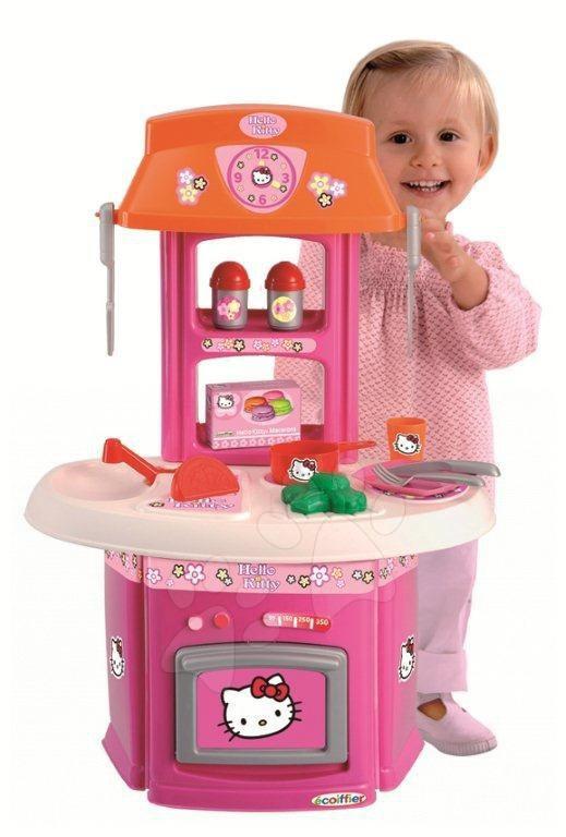 Staré položky - Kuchynka Hello Kitty Écoiffier ružovo-oranžová, 15 doplnkov od 18 mes