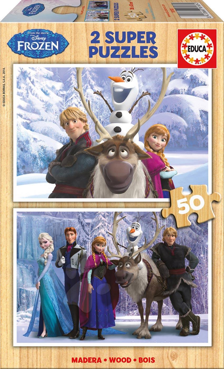 Drevené Disney puzzle - Drevené puzzle Frozen Ľadové kráľovstvo Educa 2x50 dielov od 5 rokov