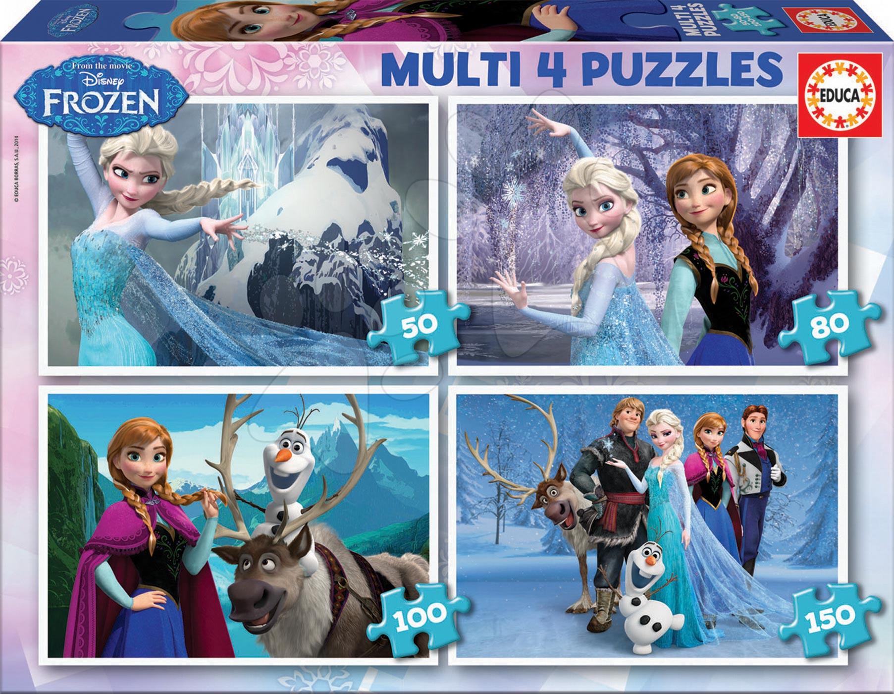 Progresívne detské puzzle - Puzzle Disney Frozen Educa 150-100-80-50 dielov od 5 rokov