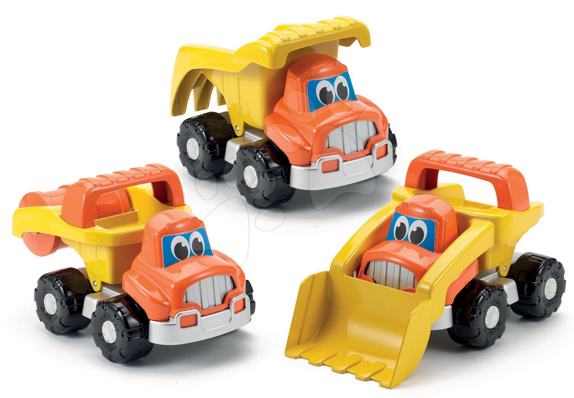 Homokozó autók - Szett építőipari járművek Bob mester Écoiffier dömper, úthenger, kotrógép narancssárga 18 hó-tól