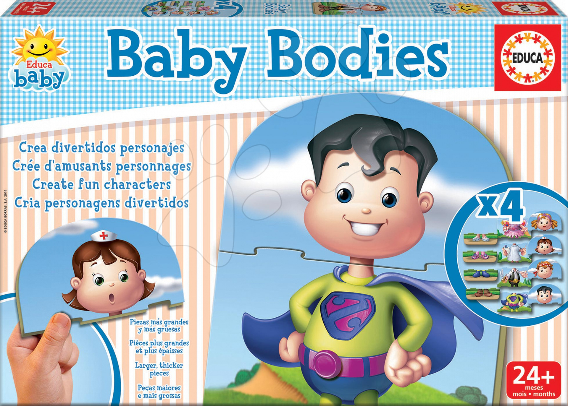 Puzzle Baby Bodies Educa 4x3 dílky 4obrázkové od 24 měsíců