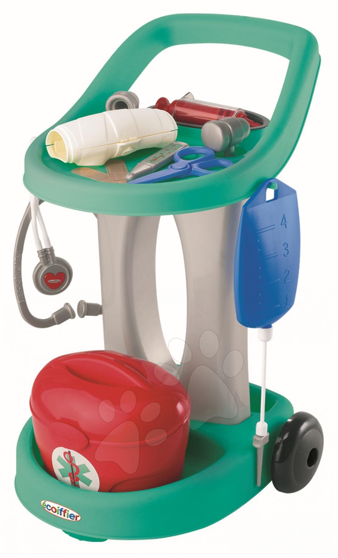 Lékařský vozík s kufříkem, infuzí, sádrou Écoiffier a 13 doplňky
