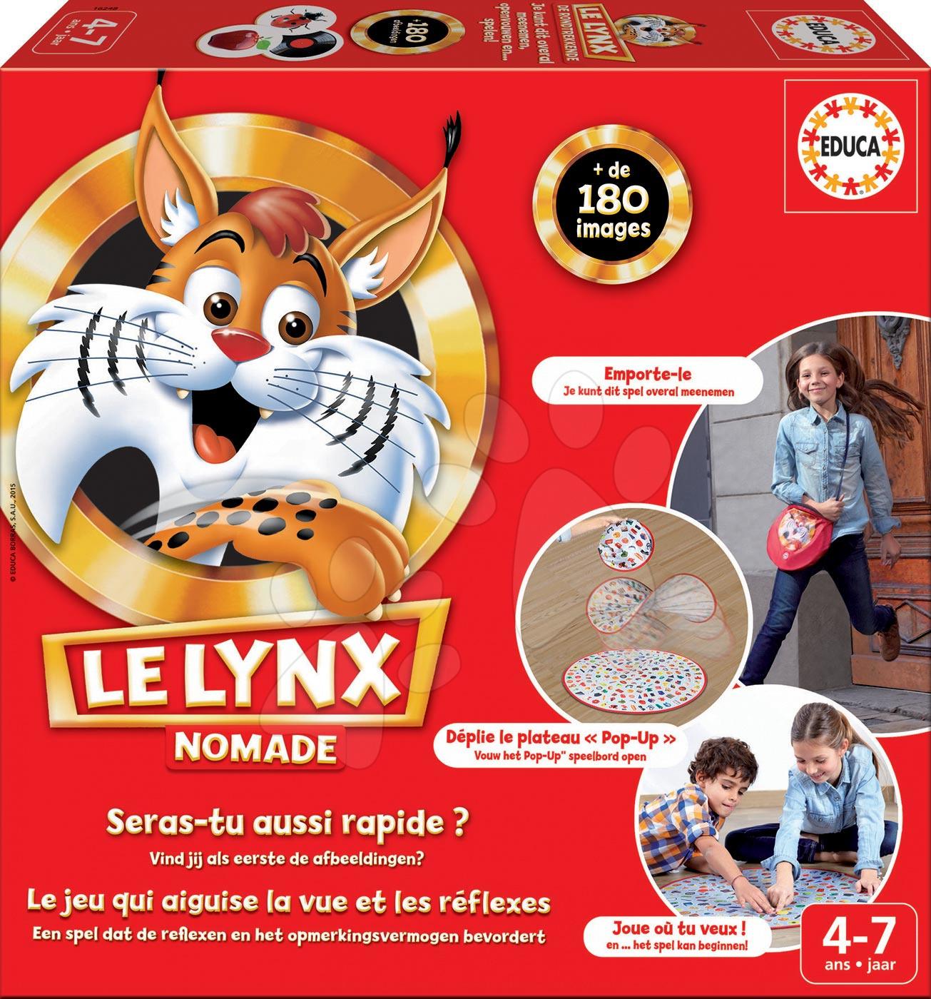 Cestovní společenská hra Le Lynx Educa 180 obrázků ve francouzštině od 4 let