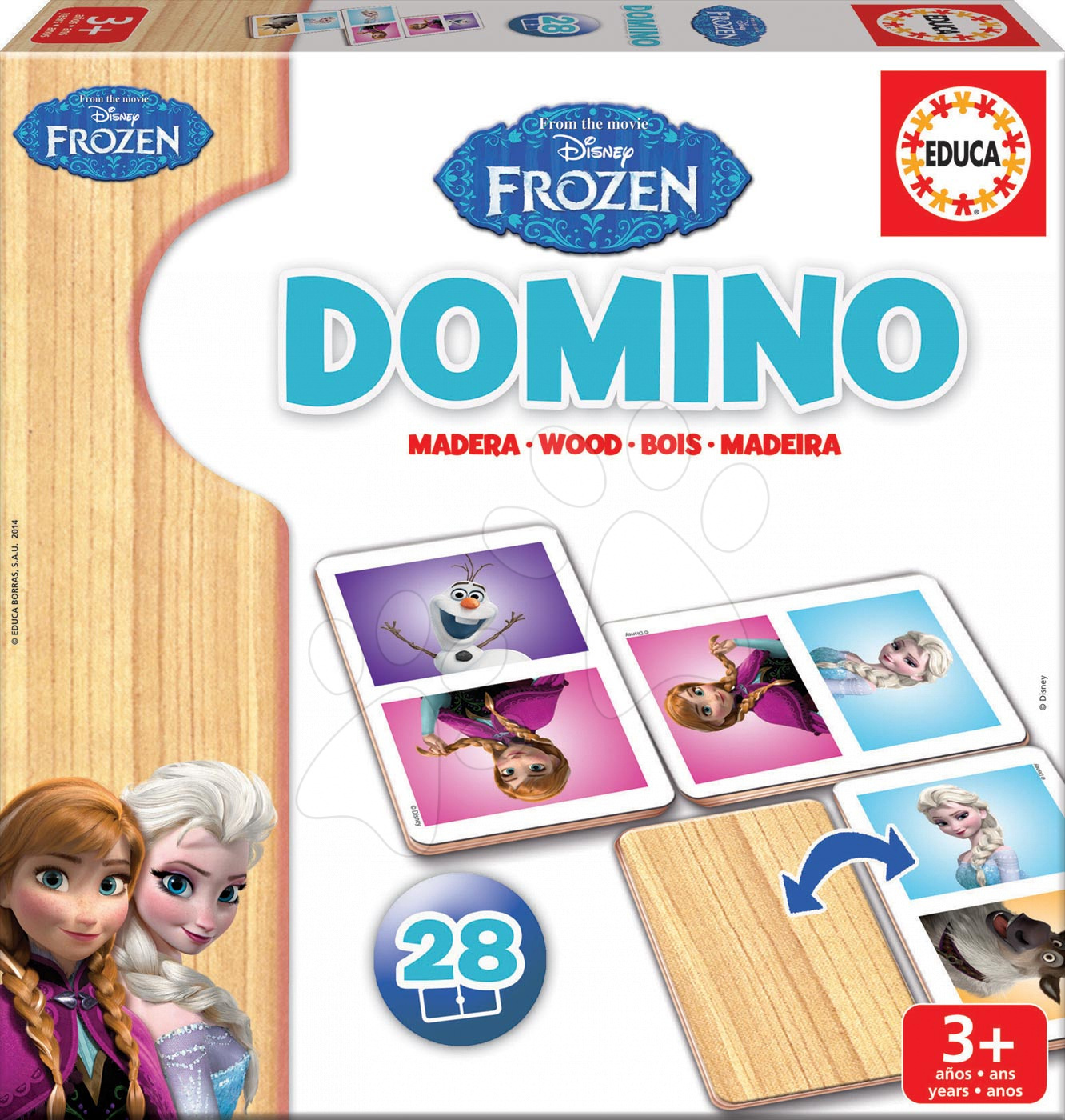 Domino a Lotto - Drevené domino Frozen Educa 28 ks