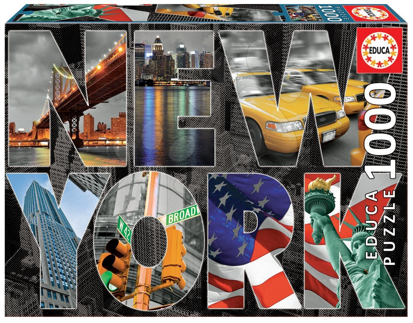 Puzzle 1000 dielne - Puzzle Genuine New York Collage Educa 1000 dielov od 12 rokov
