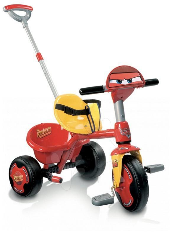 Tricicletă Disney Maşini Smoby roşu-galben de la 15 luni