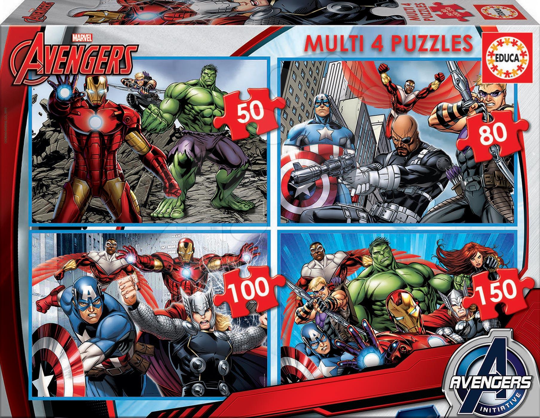 Progresívne detské puzzle - Puzzle Avengers Educa 50-80-100-150 dielov od 5 rokov