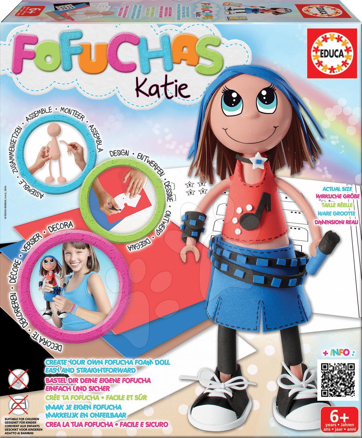 Ručné práce a tvorenie - Brazílska bábika Fofuchas Katie Rock Educa Obleč ju sama od 6 rokov