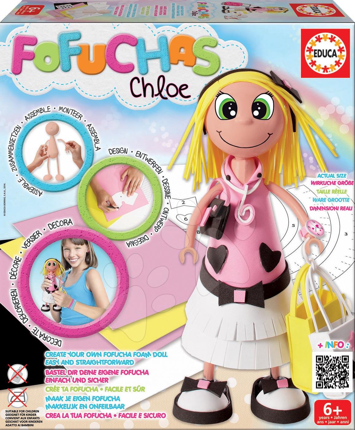Ručné práce a tvorenie - Bábika Fofuchas Chloe Glamour Educa Obleč ju sama od 6 rokov