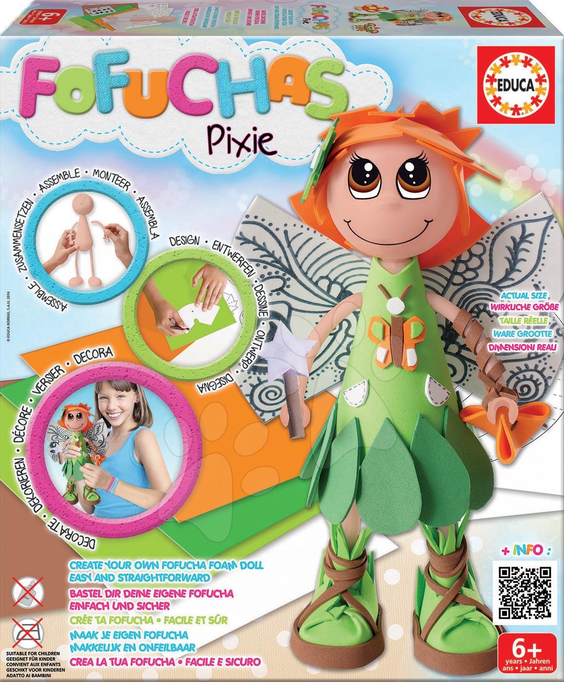 Ručné práce a tvorenie - Brazílska lesná bábika Fofuchas Pixie Fairy Educa Obleč ju sama od 6 rokov