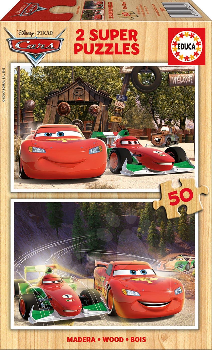 Drevené Disney puzzle - Drevené puzzle Autá Educa 2x50 dielov od 5 rokov
