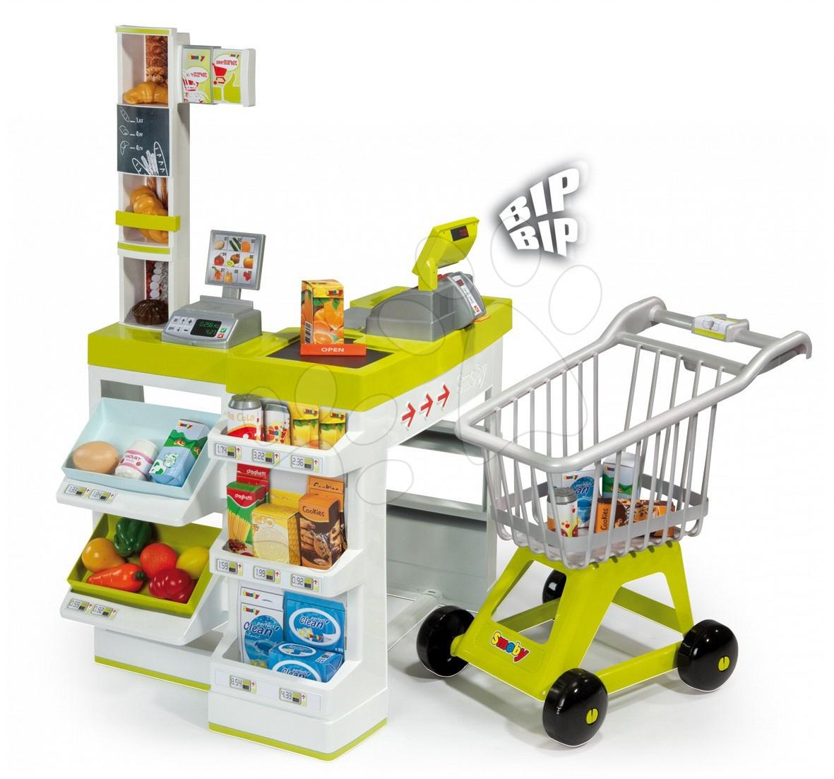 Nagy szupermarket Smoby elektromos, bevásárlókocsival, 36 kiegészítővel
