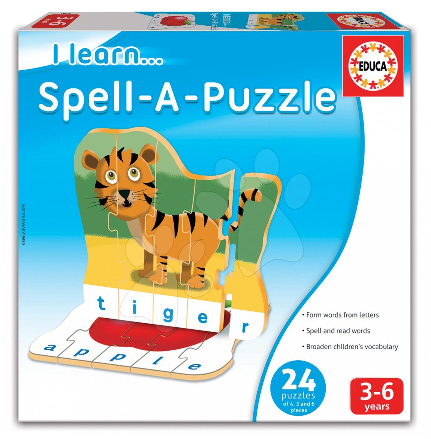 Naučná hra Učíme se vyskládat puzzle Educa 24 dílků v angličtině od 3 let