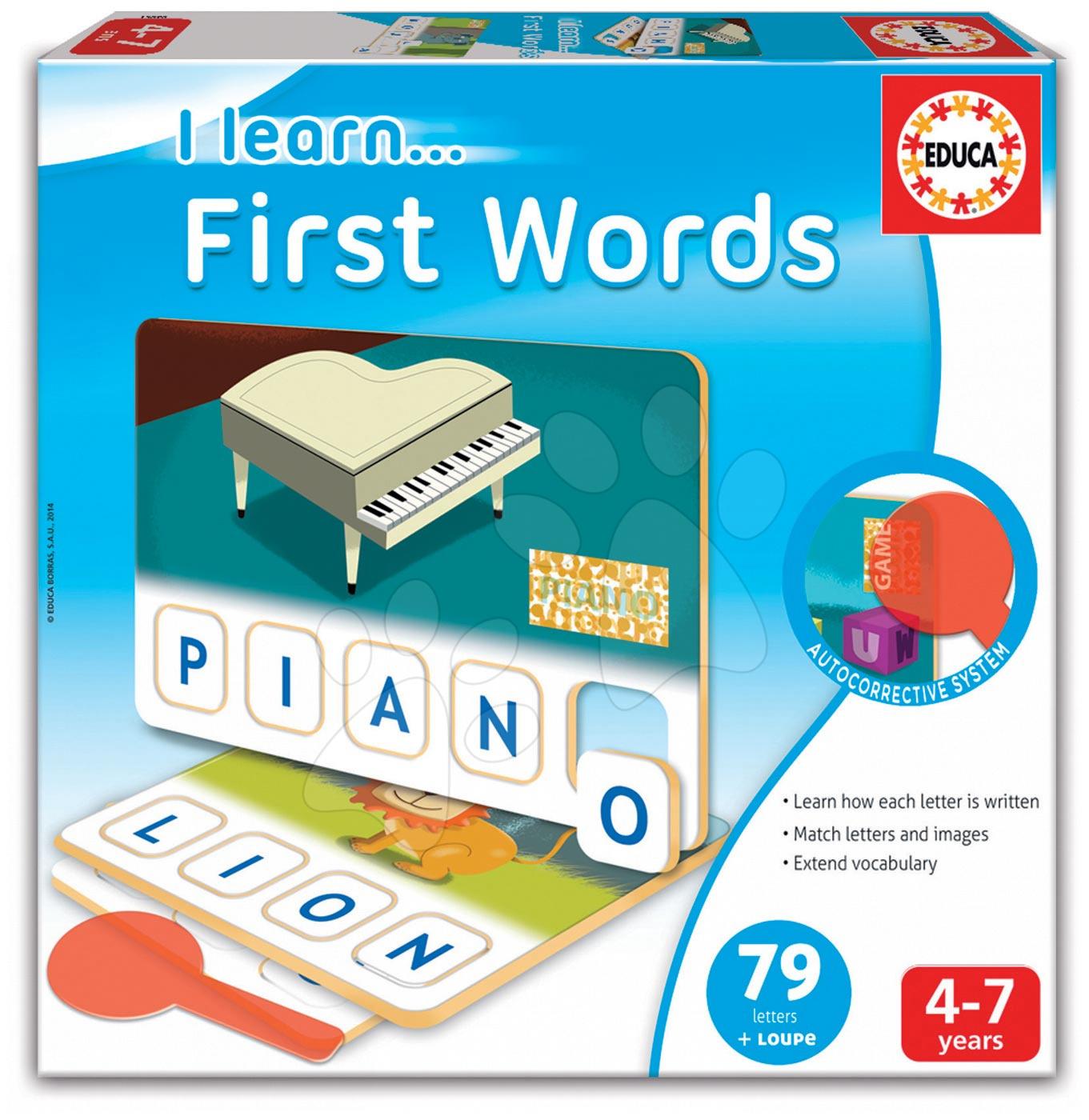 Cudzojazyčné spoločenské hry - Náučná hra Učíme sa Prvé slová Educa 79 dielov v angličtine od 4 rokov