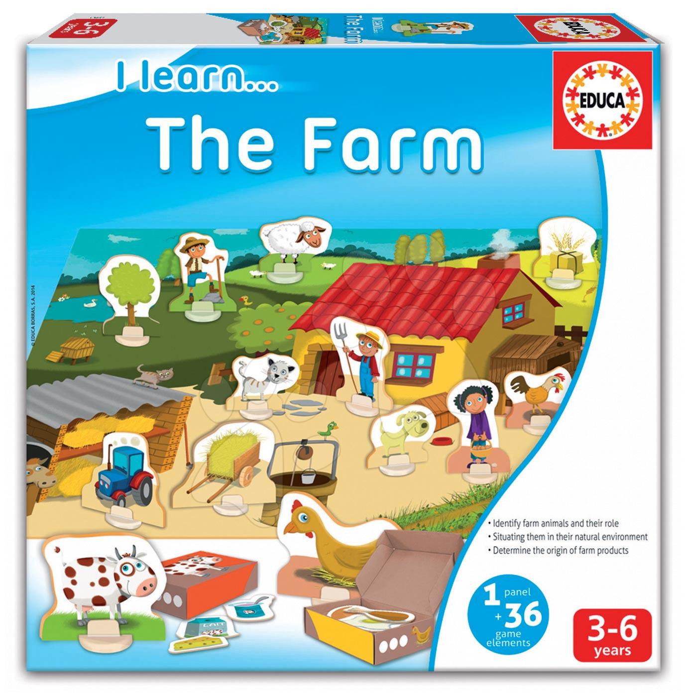 Cudzojazyčné spoločenské hry - Náučná hra Učíme sa o živote na farme Educa 36 dielov od 3 rokov