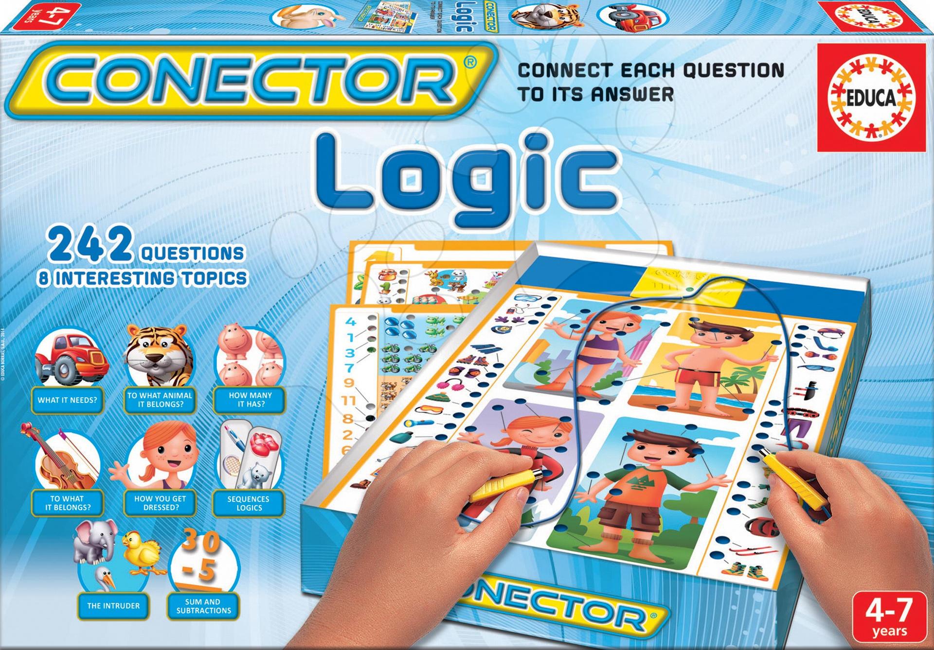 Cudzojazyčné spoločenské hry - Spoločenská hra Conector Logické myslenie Educa 242 otázok v angličtine od 4 rokov