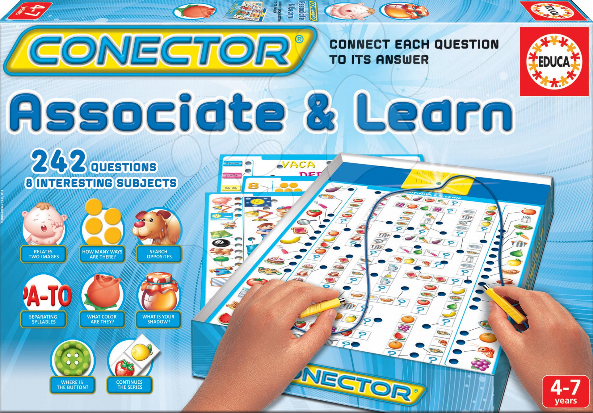 Společenská hra Conector Asociace & Učení Educa 242 otázek v angličtině od 4 let