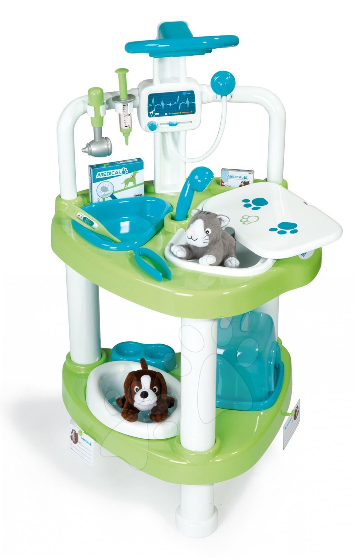Mașină medicală 2 în 1 Smoby cu 2 animale cu 11 accesorii 48*46*86 cm