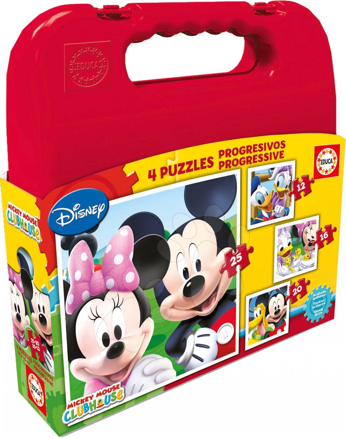 Progresívne detské puzzle - Puzzle Mickey Mouse v kufríku Educa 25-20-16-12 dielov, progresívne od 24 mes