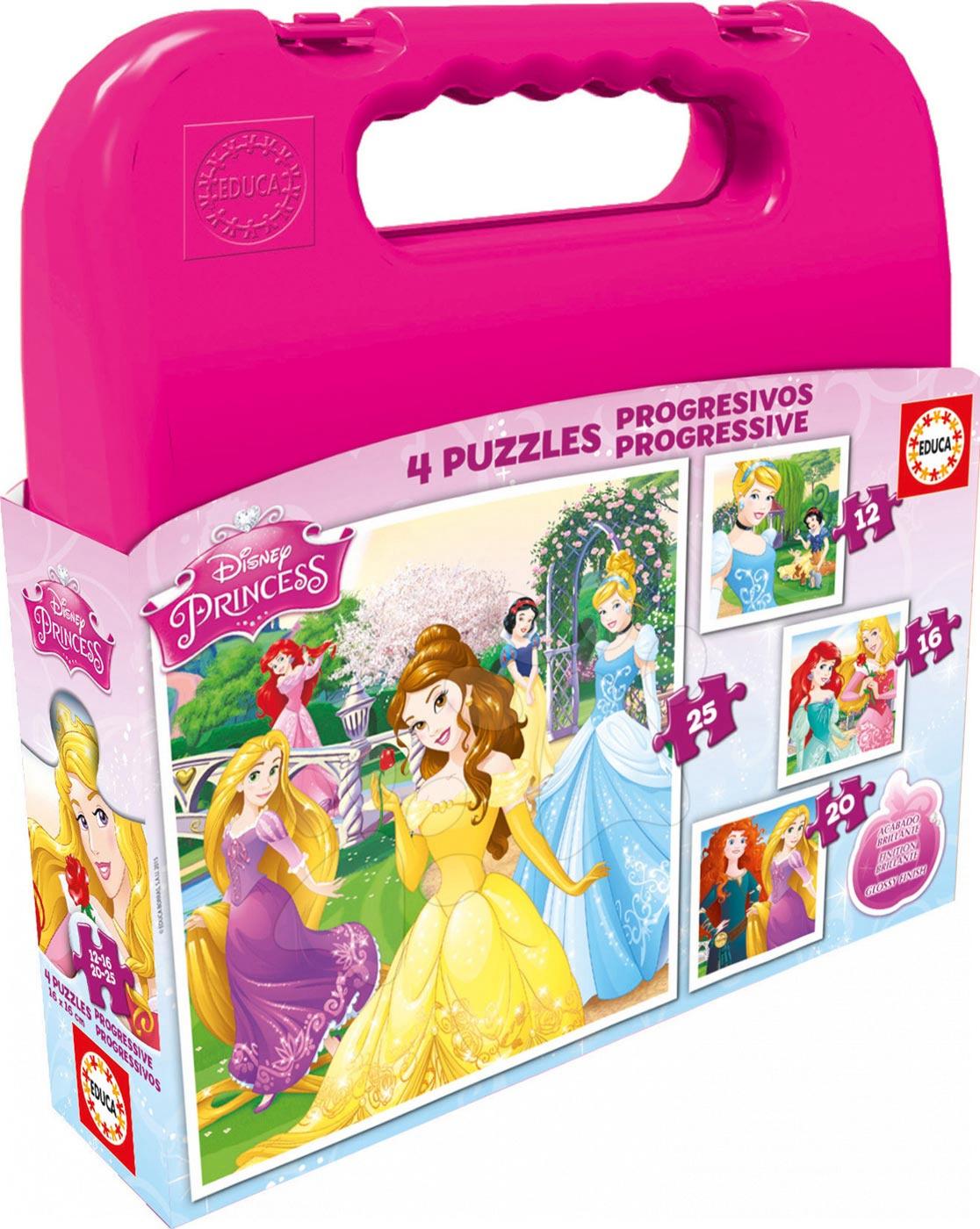 Puzzle Disney Princezny v kufříku Educa progresivní 25-20-16-12 dílů od 24 měsíců