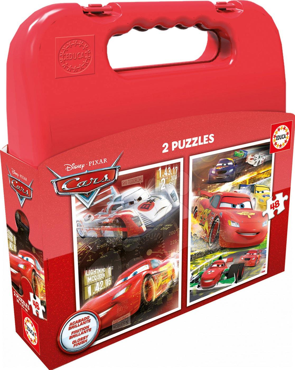 Detské puzzle do 100 dielov - Puzzle Autá 2 Educa v kufríku 2x 48 dielov
