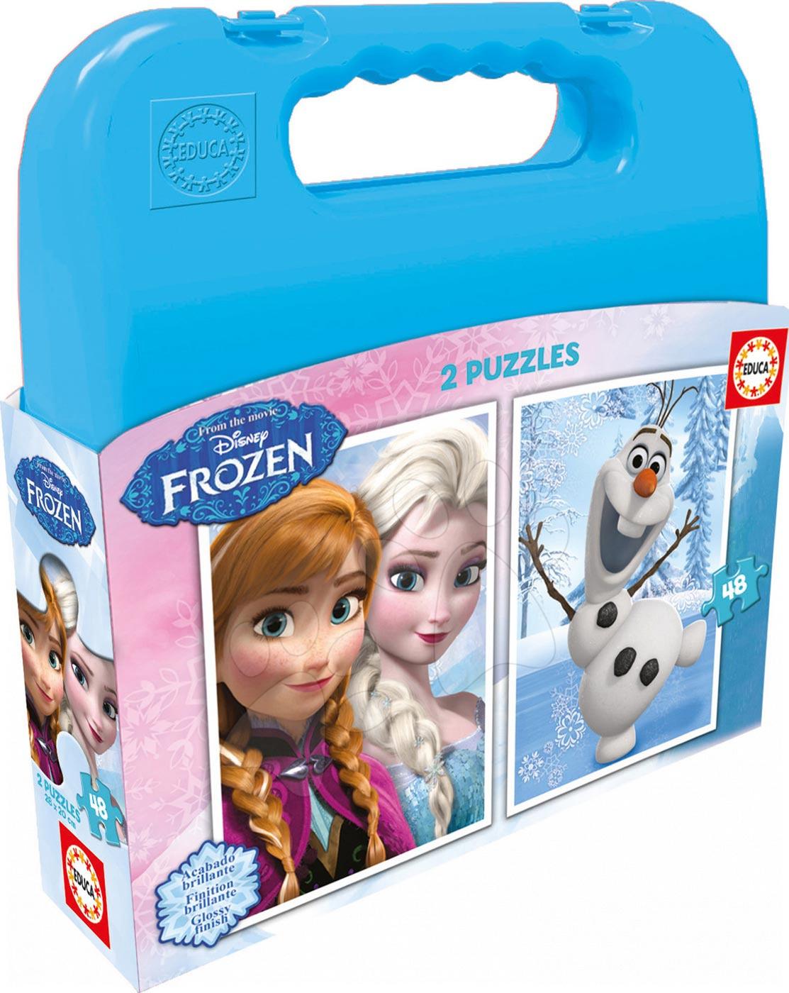 Detské puzzle do 100 dielov - Puzzle Frozen Educa v kufríku 2x48 dielov