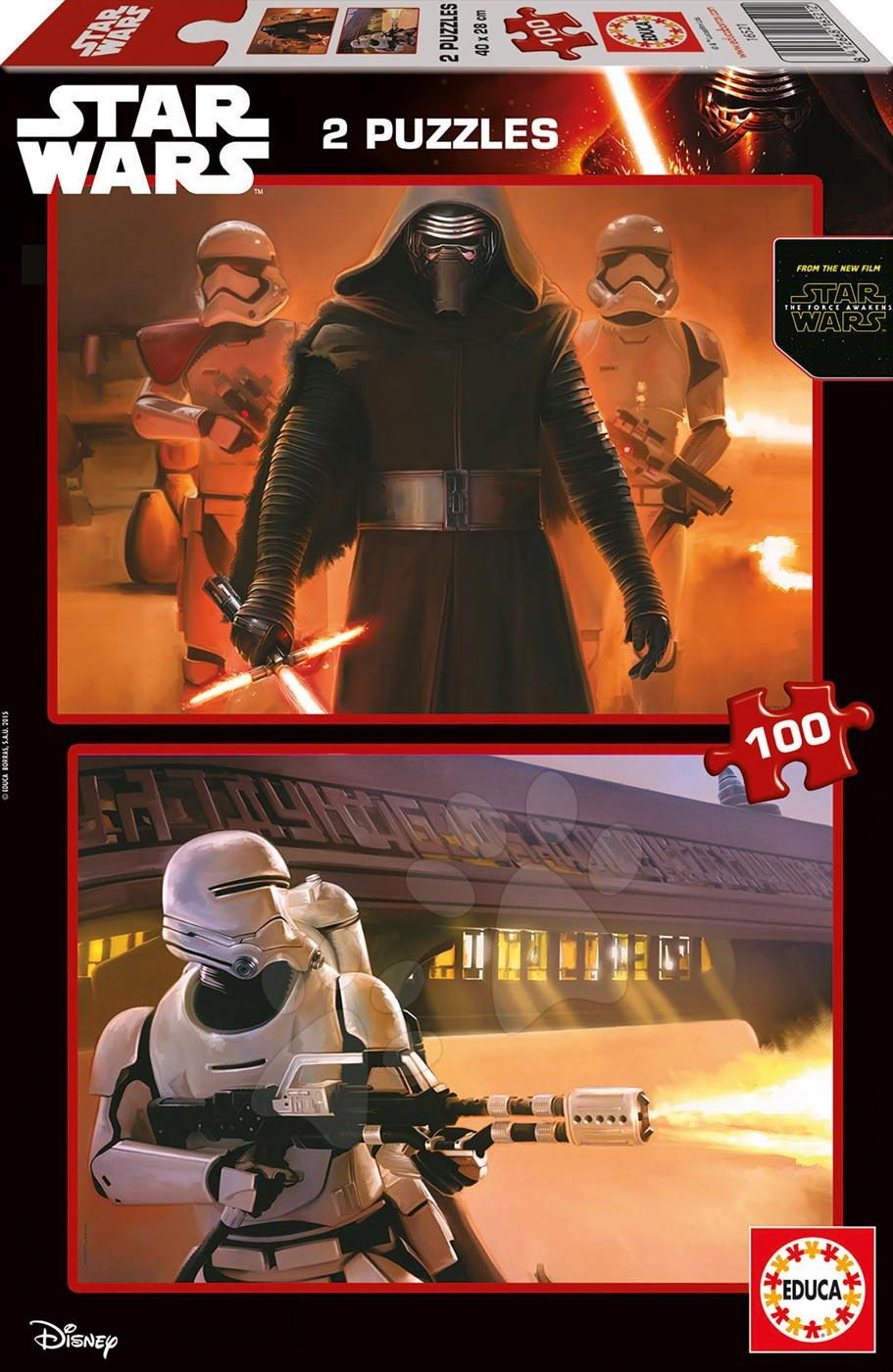 Detské puzzle od 100-300 dielov - Puzzle Star Wars 7: Sila sa prebúdza Educa 2x 100 dielov od 5 rokov