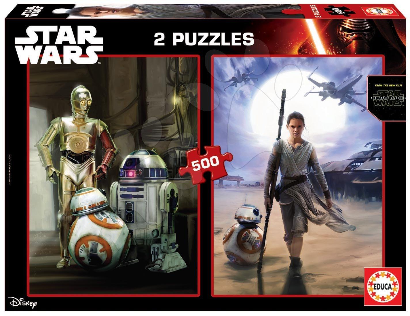 Puzzle 500 dielne - Puzzle Hviezdne vojny - Sila sa prebúdza Educa 2x500 dielov a Fix lepidlo od 11 rokov