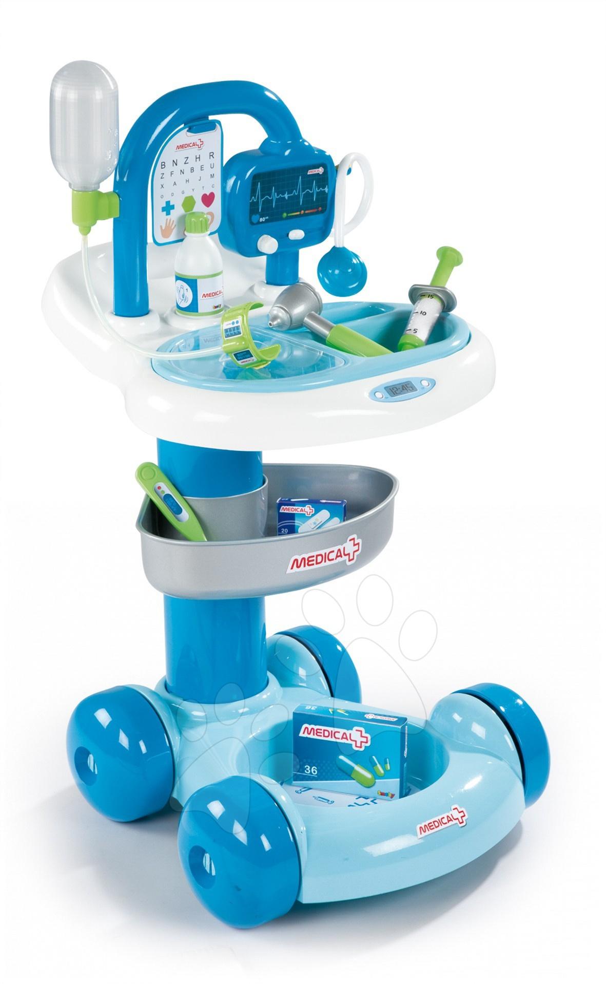 Lékařské vozíky pro děti - Doktor lékařský vozík Smoby s mechanickým zvukem a 7 doplňků