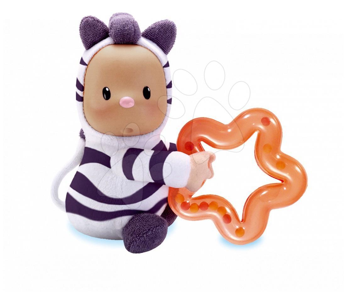 Panenka Doudou Punky Cotoons zebra Smoby s kusadly pro kojence bílo-fialová