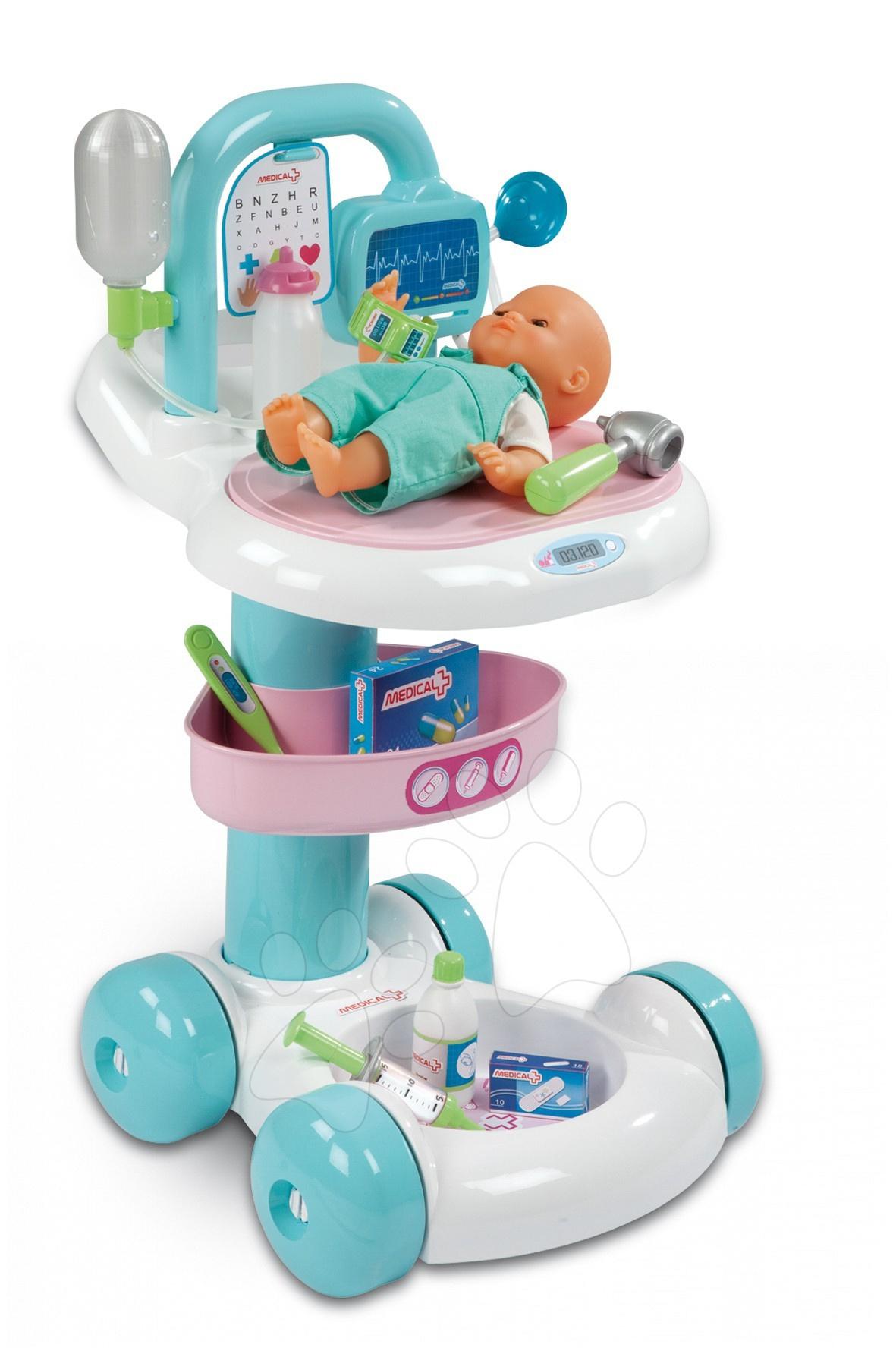 Smoby 24603 Smoby doktor lekársky vozík + bábika a 9 dodatkov 36*40*60 cm
