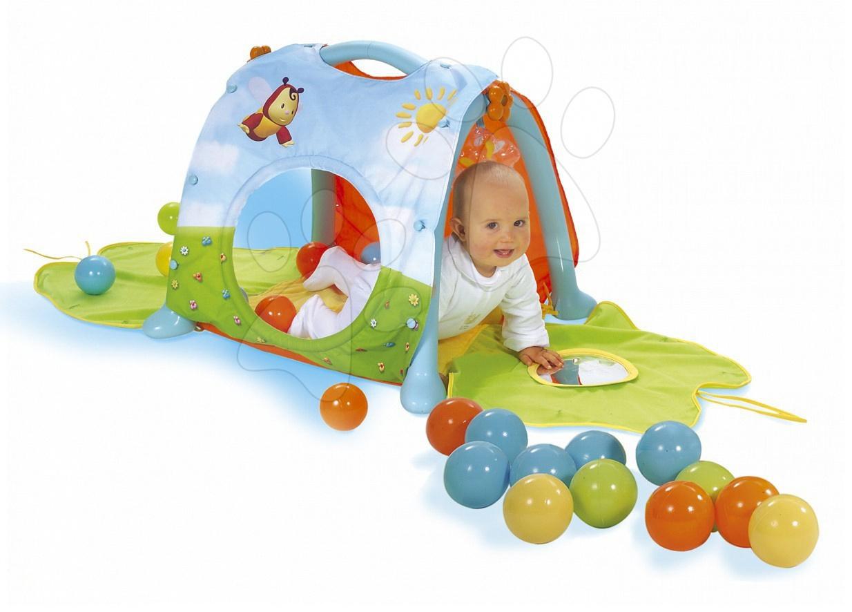Hrázdičky a hracie podložky  - Farebná podložka Cotoon Smoby s tunelom, hrkálkou a loptičkami pre kojencov