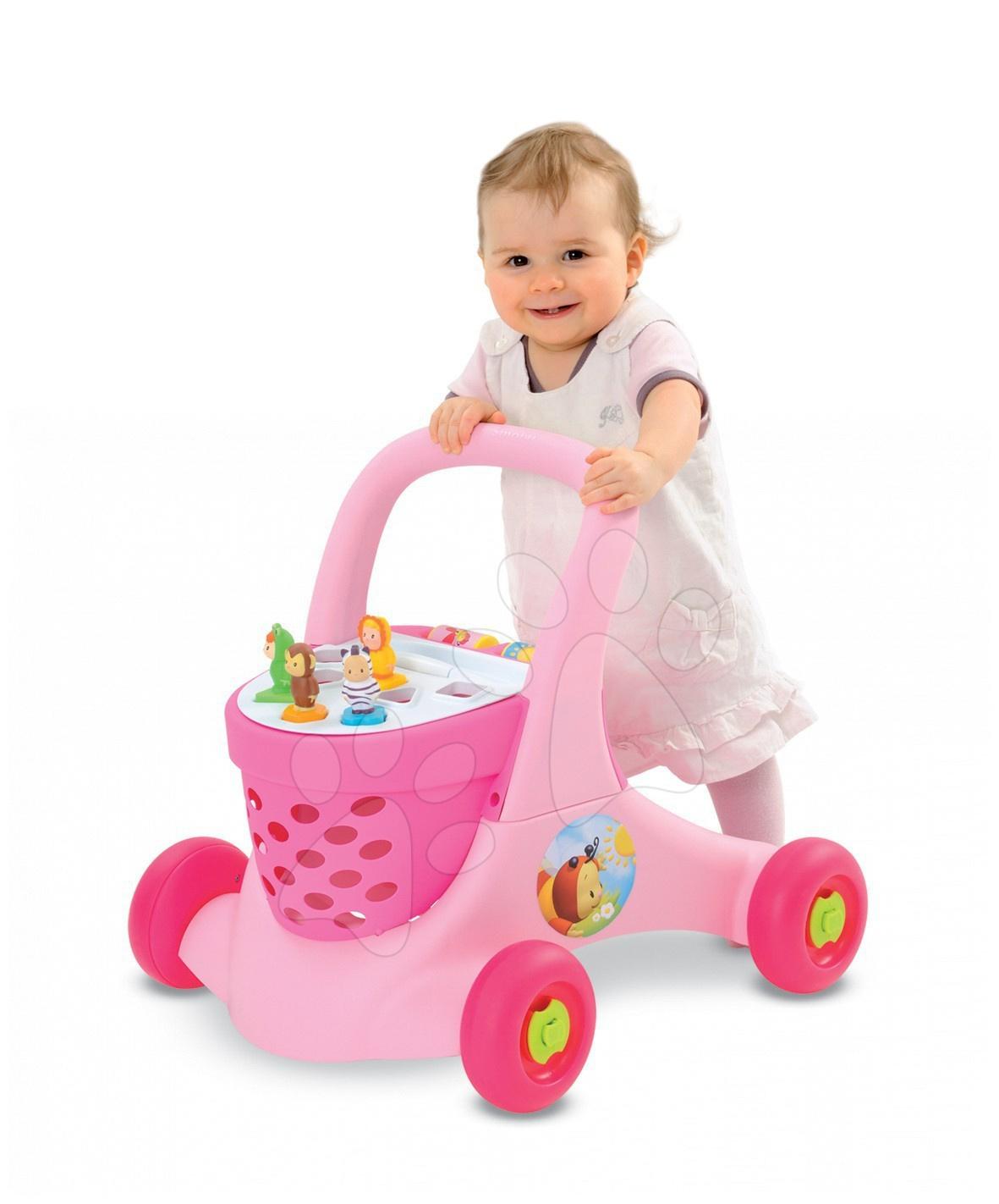 Cotoons chodítko Trott vozík Smoby 4 figurkami a brzdou na předním kole, růžové od 12 měsíců
