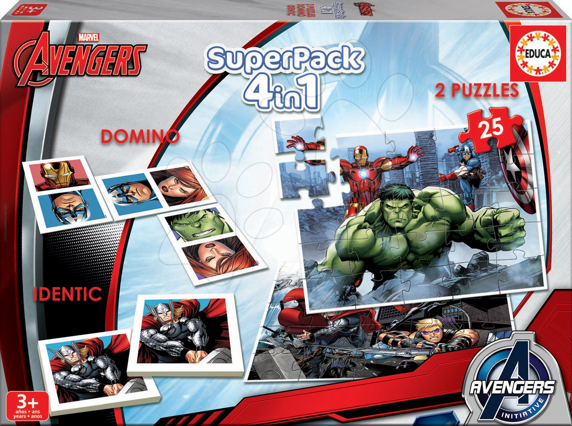 Puzzle Avengers SuperPack 4 v 1 Educa progresivní 2x puzzle, domino a pexeso