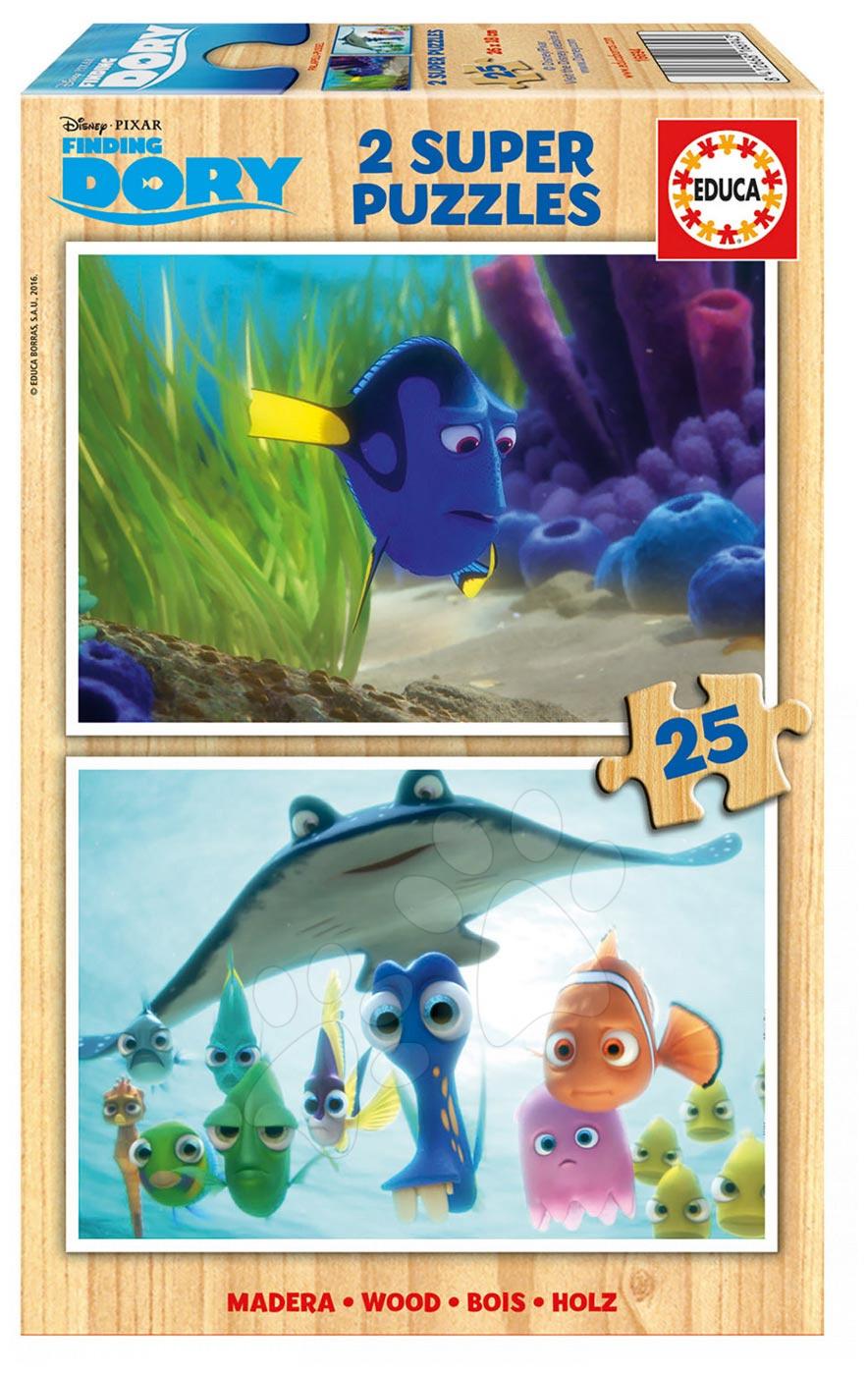 Drevené Disney puzzle - Drevené puzzle Hľadá sa Dory Educa 2x 25 dielov